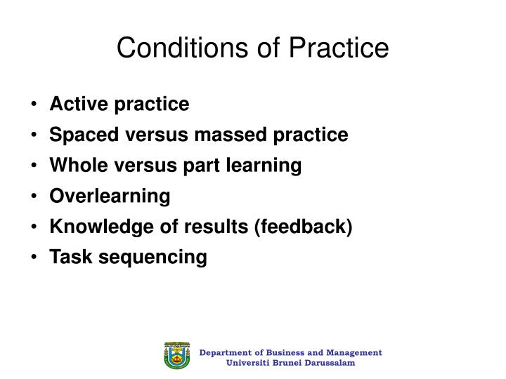 Conditions of Practice