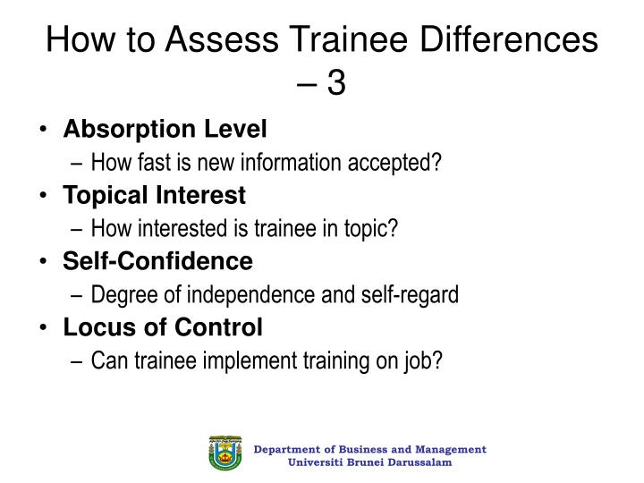 How to Assess Trainee Differences – 3
