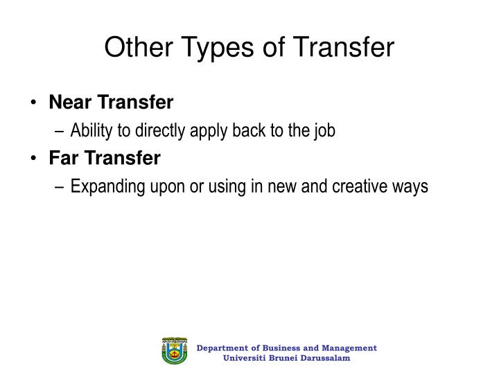 Other Types of Transfer