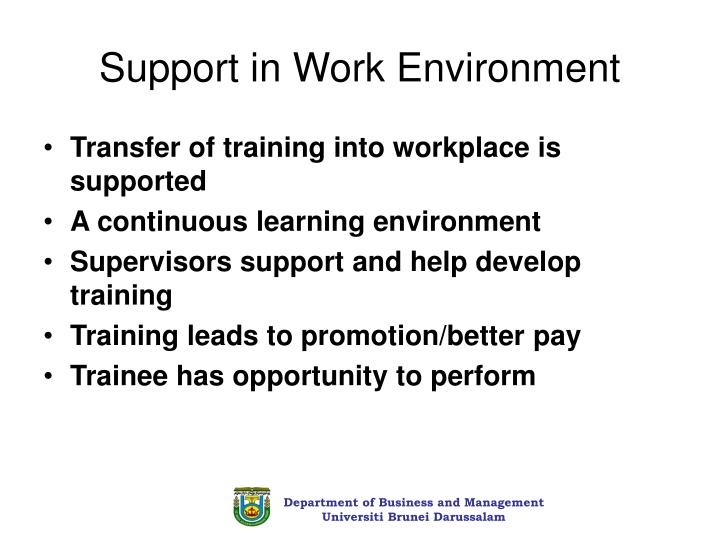 Support in Work Environment