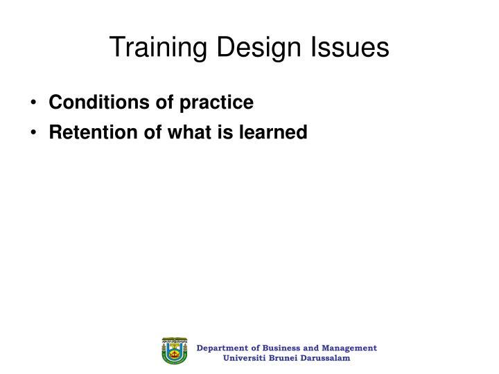 Training Design Issues