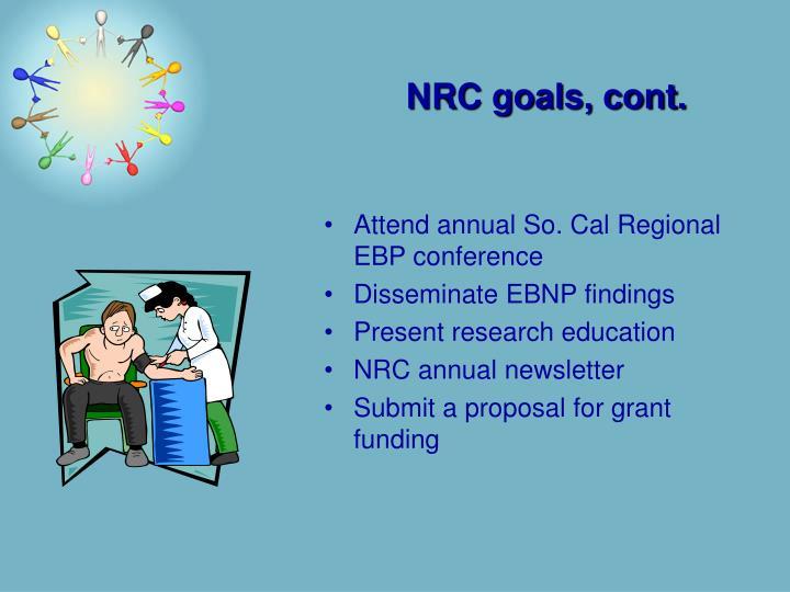 NRC goals, cont.