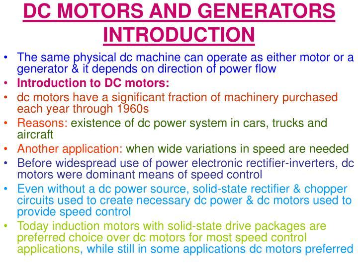 DC MOTORS AND GENERATORS