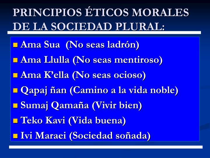 PRINCIPIOS ÉTICOS MORALES DE LA SOCIEDAD PLURAL: