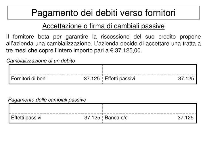 Pagamento dei debiti verso fornitori