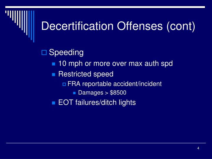 Decertification Offenses (cont)