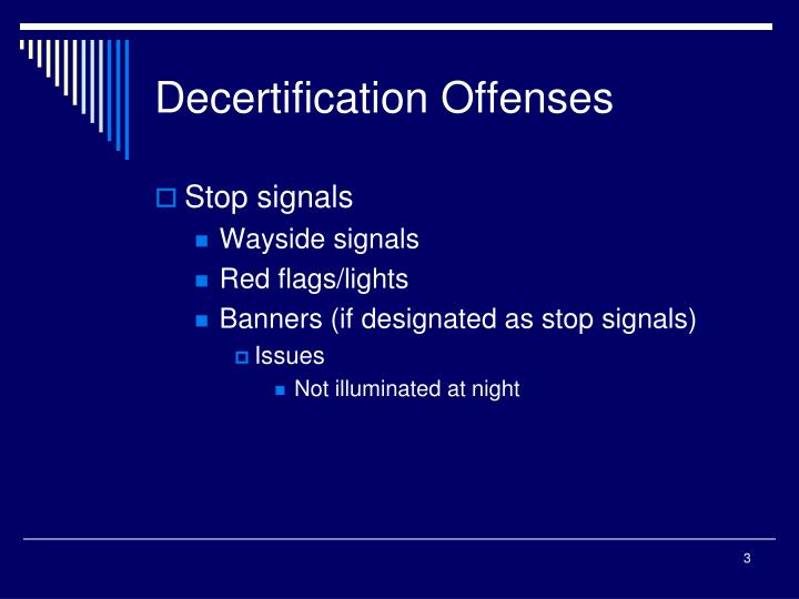 Decertification offenses