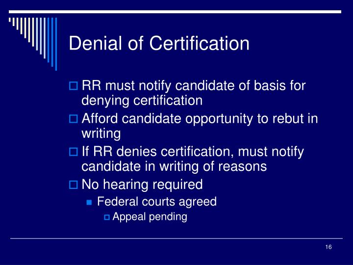 Denial of Certification