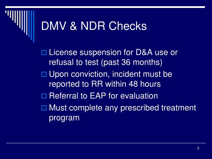 Dmv ndr checks