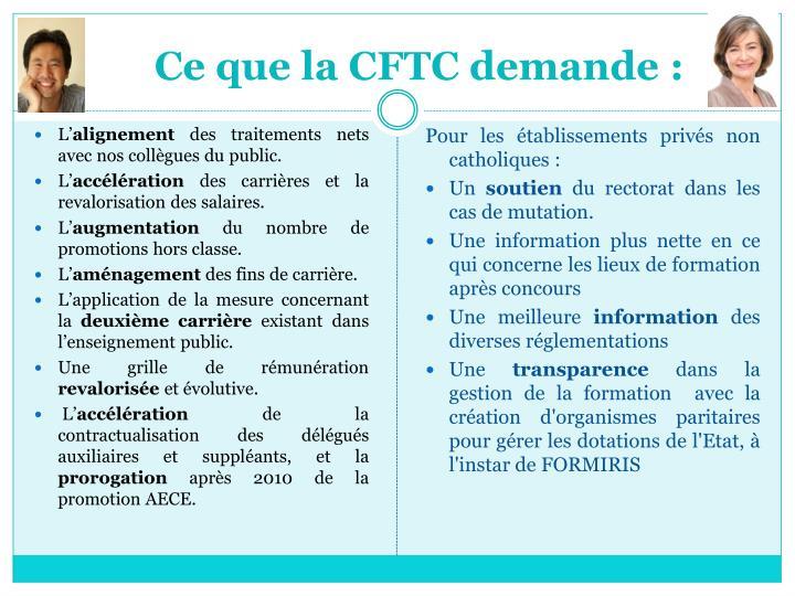 Ce que la CFTC demande: