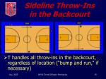 sideline throw ins in the backcourt