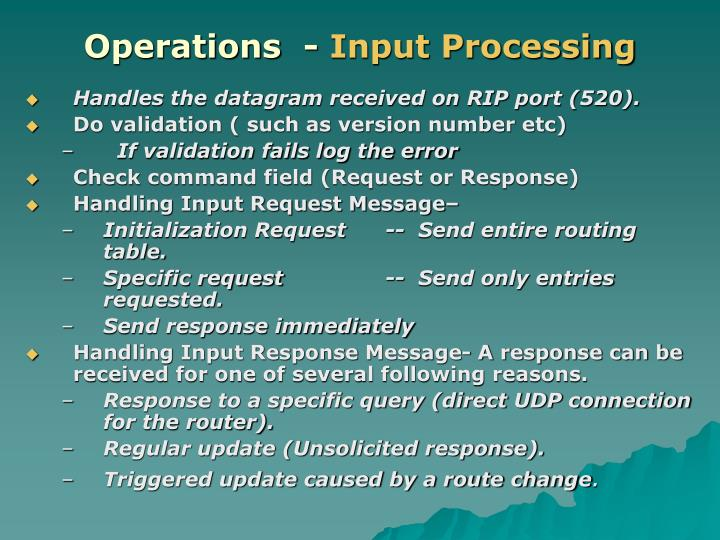 Operations  -