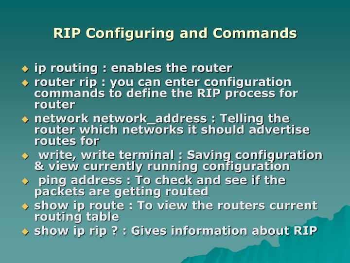 RIP Configuring and Commands