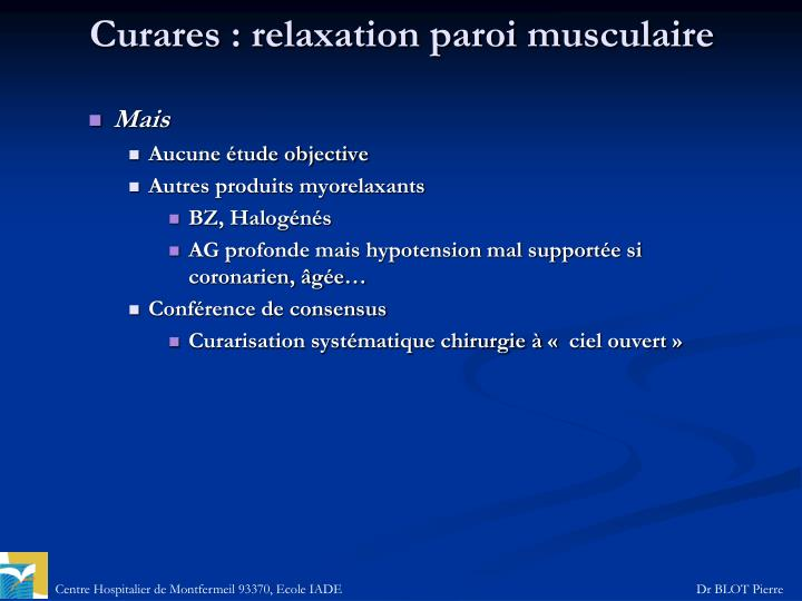 Curares: relaxation paroi musculaire