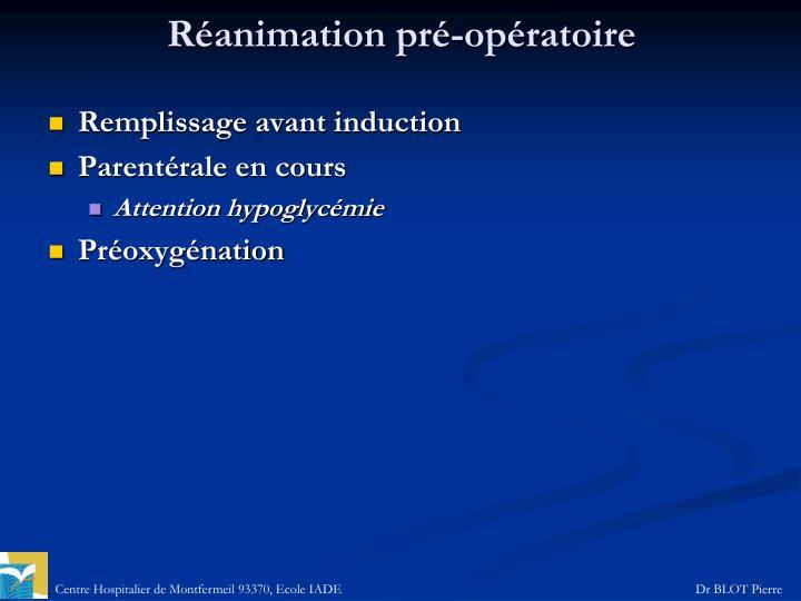 Réanimation pré-opératoire
