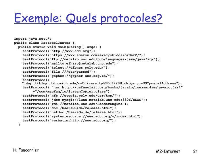 Exemple: Quels protocoles?