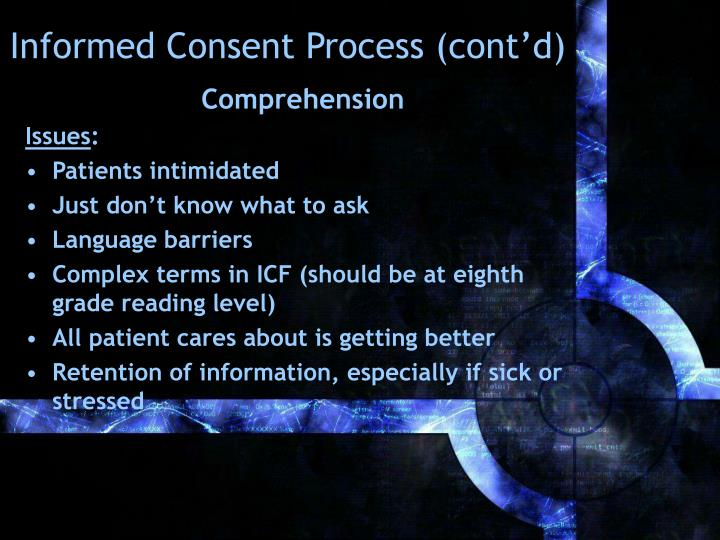Informed Consent Process (cont'd)