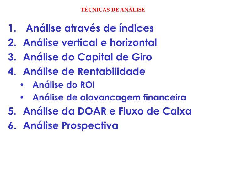 TÉCNICAS DE ANÁLISE