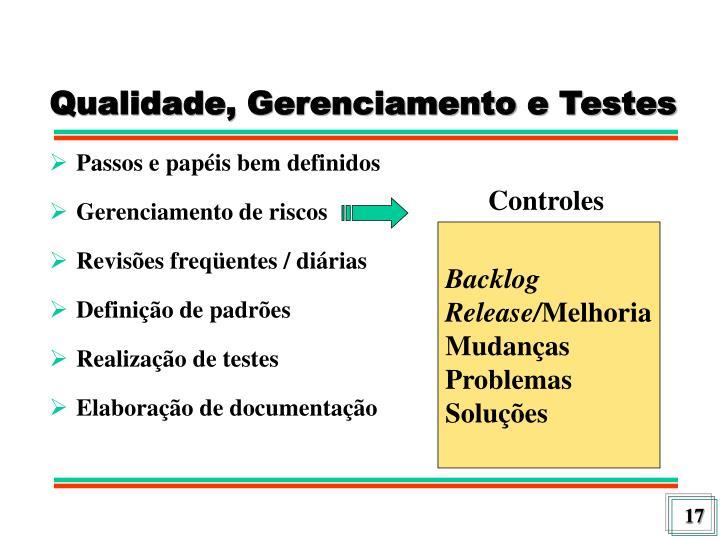 Qualidade, Gerenciamento e Testes
