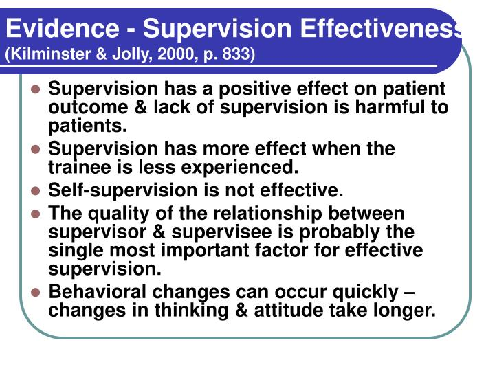 Evidence - Supervision Effectiveness