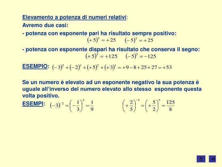 Elevamento a potenza di numeri relativi