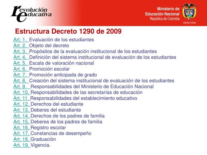 Estructura Decreto 1290 de 2009
