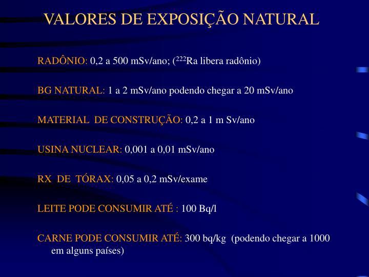 VALORES DE EXPOSIÇÃO NATURAL
