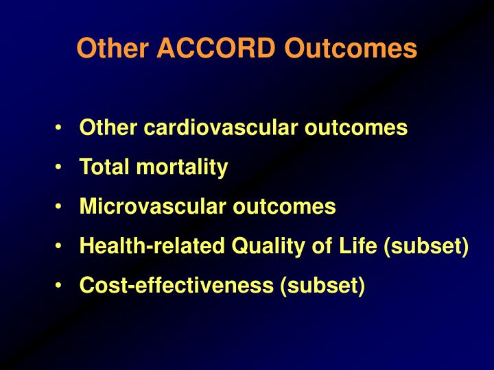 Other ACCORD Outcomes