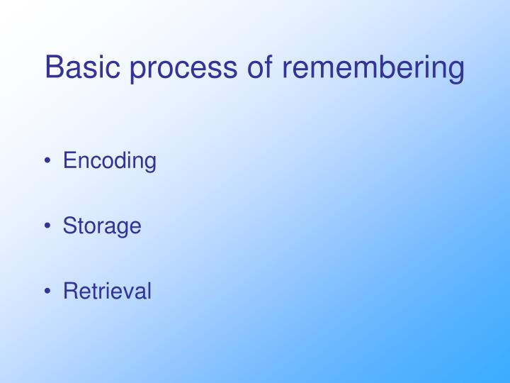Basic process of remembering