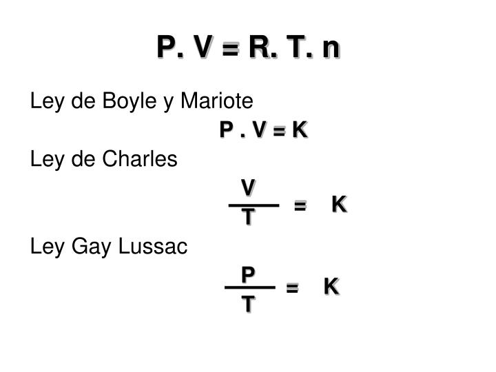 P. V = R. T. n
