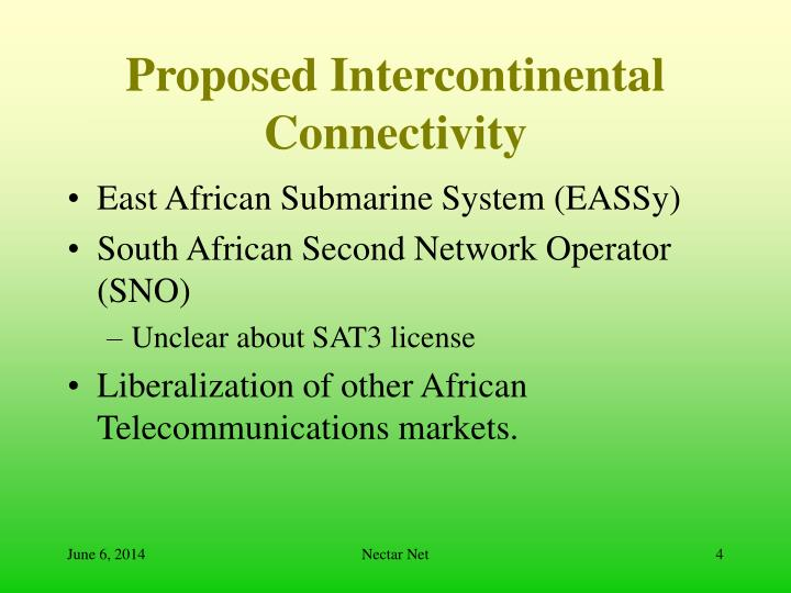Proposed Intercontinental Connectivity