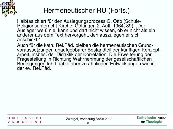 Hermeneutischer RU (Forts.)