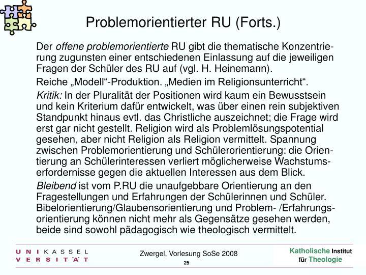 Problemorientierter RU (Forts.)