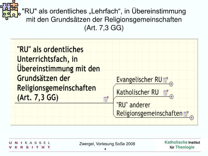 """""""RU"""" als ordentliches """"Lehrfach"""", in Übereinstimmung"""