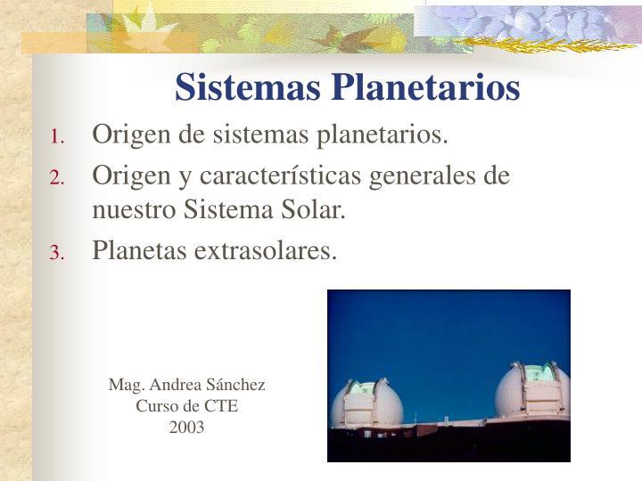 Sistemas Planetarios