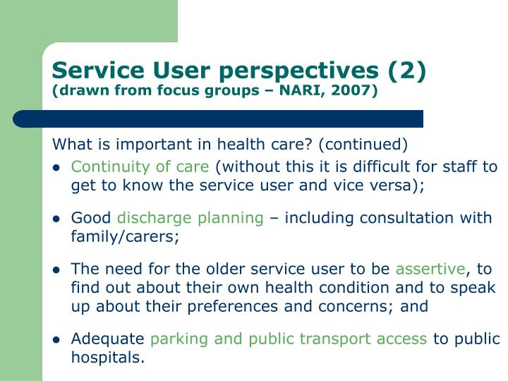 Service User perspectives (2)
