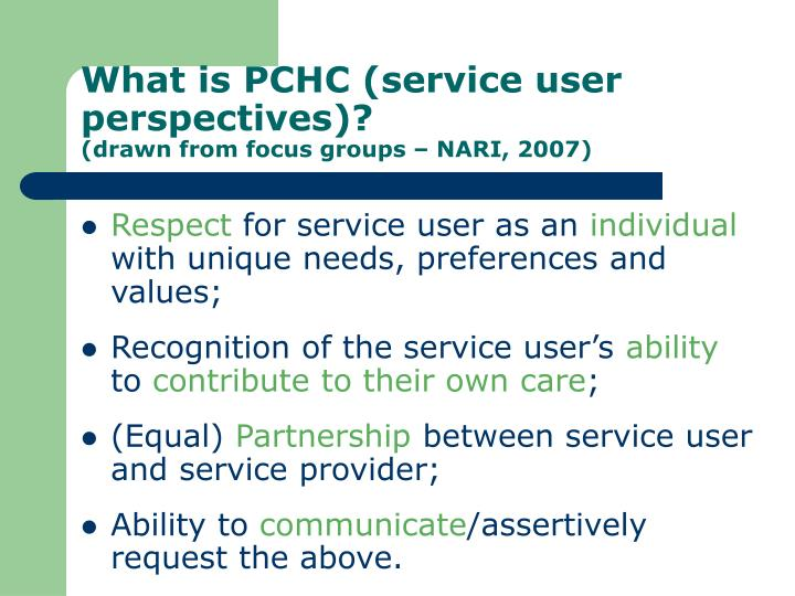 What is PCHC (service user perspectives)?