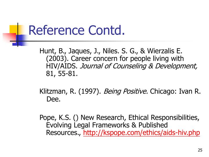 Reference Contd.