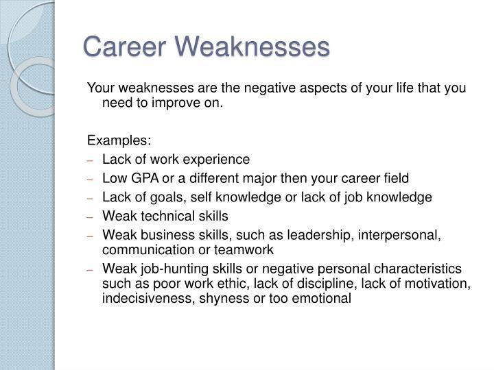 Career Weaknesses