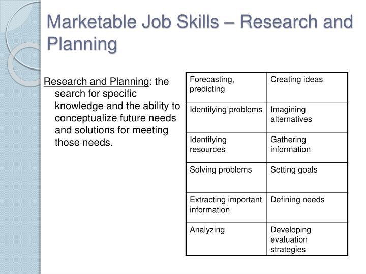 Marketable Job Skills –