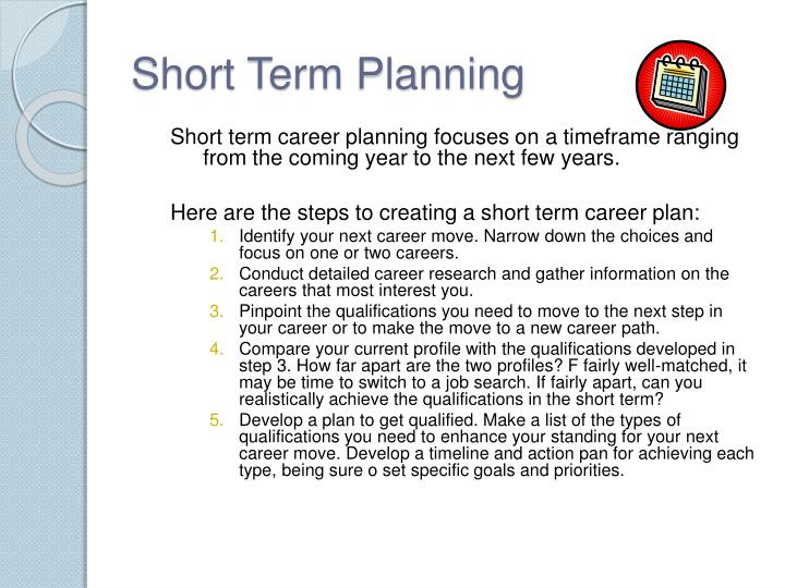 Short Term Plan : Ppt career planning powerpoint presentation id