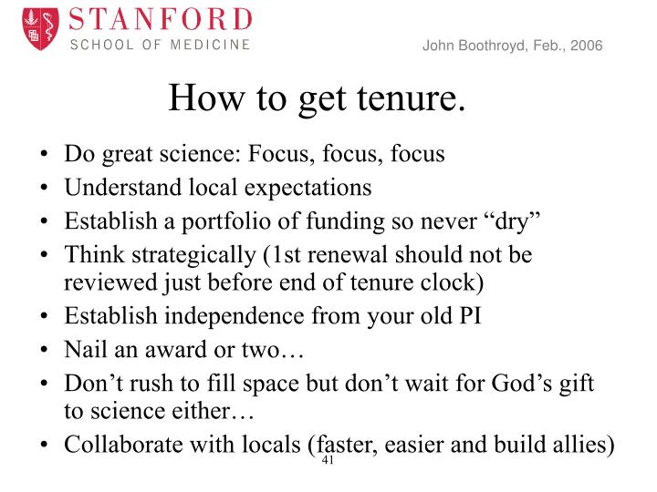 How to get tenure.