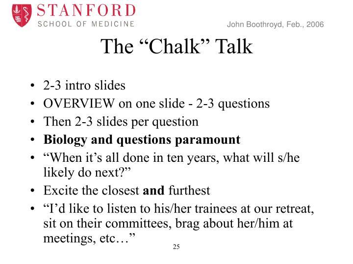 """The """"Chalk"""" Talk"""