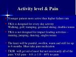 activity level pain