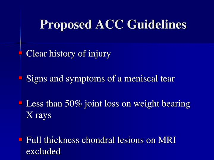 Proposed ACC Guidelines