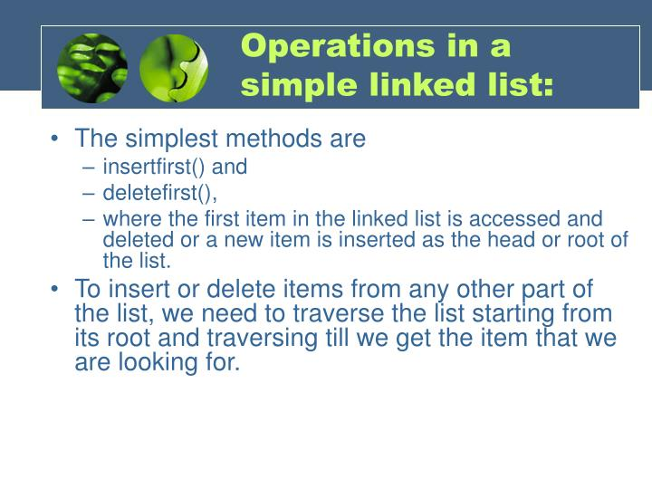 Operations in a simple linked list: