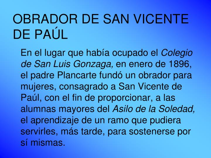 OBRADOR DE SAN VICENTE DE PAÚL