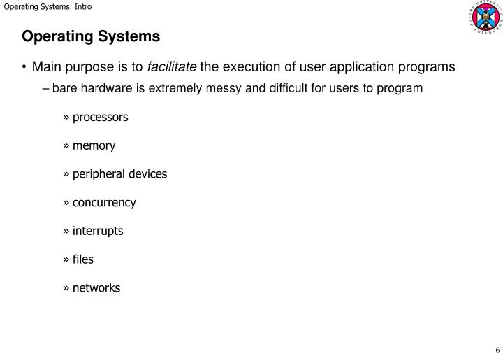 Operating Systems: Intro