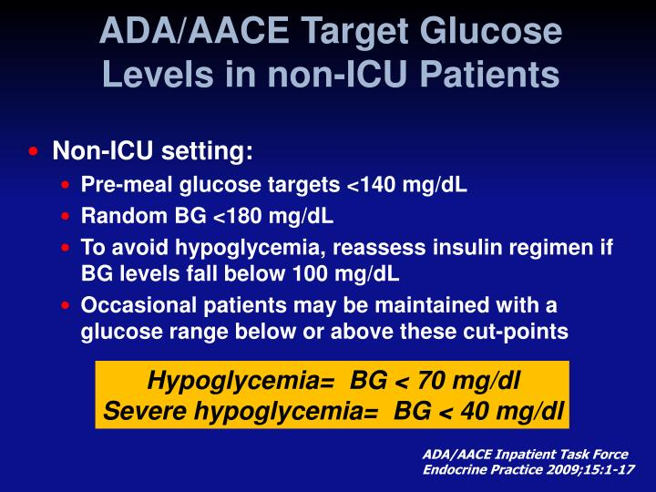 ADA/AACE Target Glucose Levels in non-ICU Patients