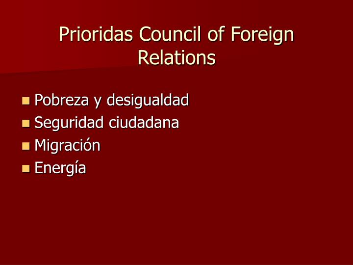 Prioridas Council of Foreign Relations